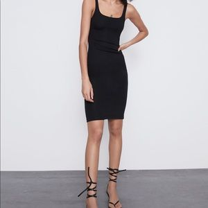 Zara Trafaluc Black Bodycon Midi-dress.